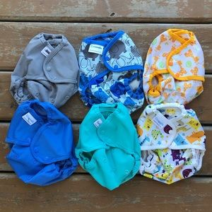 Lot of 6 Blueberry Coverall Cloth Diaper Cover OS